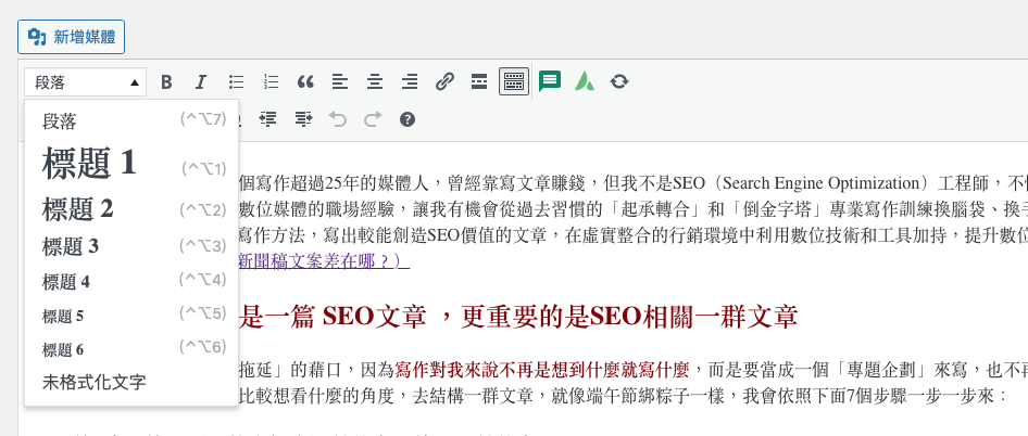 文章編輯器的左上角,要依內容不同的功能屬性,選擇不同的編輯定義